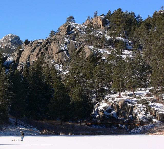 Ice fishing at Horse Thief Lake